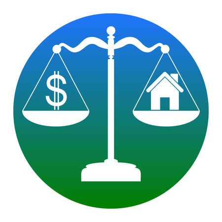 House and dollar symbol on scales. Vector. White icon in bluish circle on white background. Isolated. Illustration
