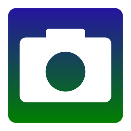 digicam: Digital camera sign. Vector. White icon at green-blue gradient square with rounded corners on white background. Isolated. Illustration