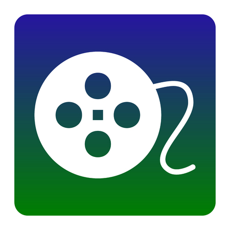 Film circular sign. Vector. White icon at green-blue gradient square with rounded corners on white background. Isolated. Illustration