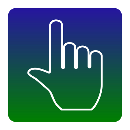 Hand sign illustration. Vector. White icon at green-blue gradient square with rounded corners on white background. Isolated.