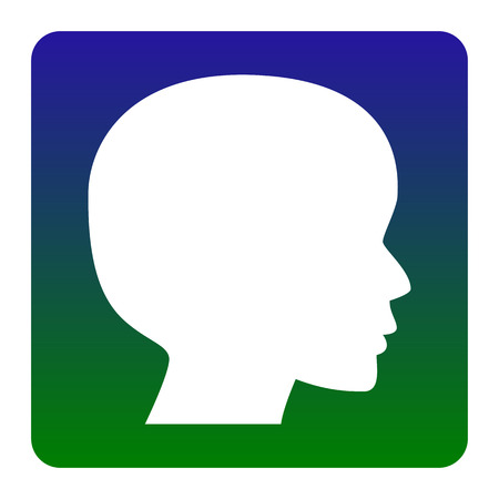 cerebro blanco y negro: People head sign. Vector. White icon at green-blue gradient square with rounded corners on white background. Isolated. Vectores
