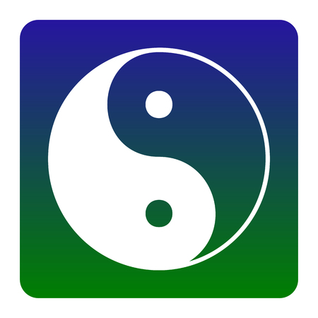 Ying yang symbol of harmony and balance. Vector. White icon at green-blue gradient square with rounded corners on white background. Isolated.