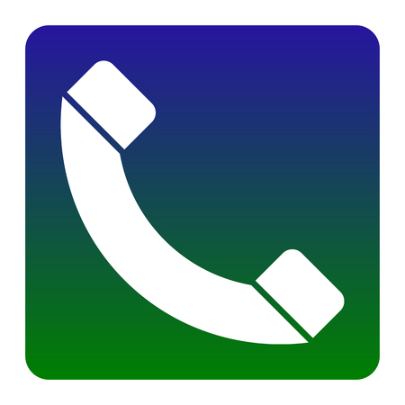 Phone sign illustration. Vector. White icon at green-blue gradient square with rounded corners on white background. Isolated. Illustration