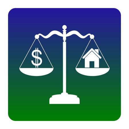 weigher: House and dollar symbol on scales. Vector. White icon at green-blue gradient square with rounded corners on white background. Isolated.