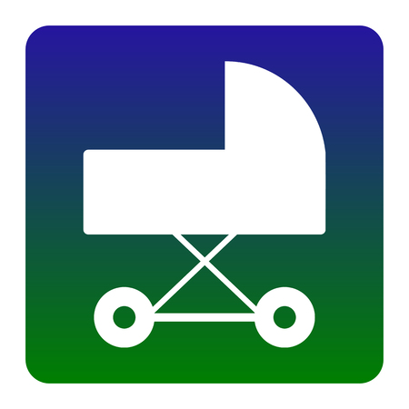 perambulator: Pram sign illustration. Vector. White icon at green-blue gradient square with rounded corners on white background. Isolated. Illustration
