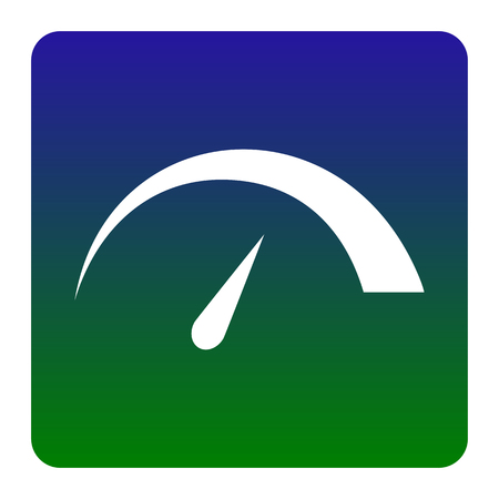 Tacho Zeichen Abbildung. Vektor. Weiße Ikone am grün-blauen Steigungsquadrat mit gerundeten Ecken auf weißem Hintergrund. Isoliert.