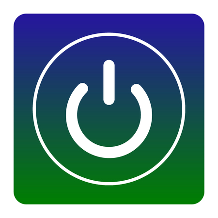 On Off switch sign. Vector. White icon at green-blue gradient square with rounded corners on white background. Isolated.