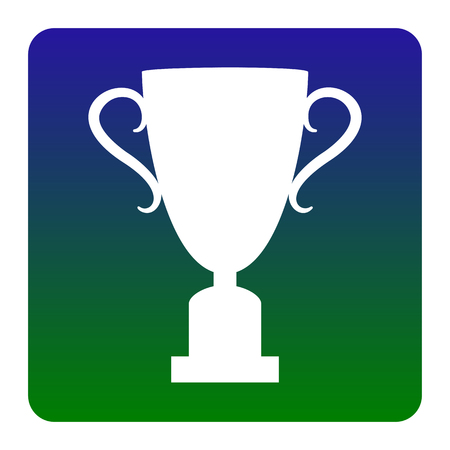 Champions Cup sign. Vector. White icon at green-blue gradient square with rounded corners on white background. Isolated. Illustration