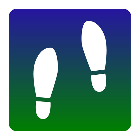 shoeprint: Imprint soles shoes sign. Vector. White icon at green-blue gradient square with rounded corners on white background. Isolated.