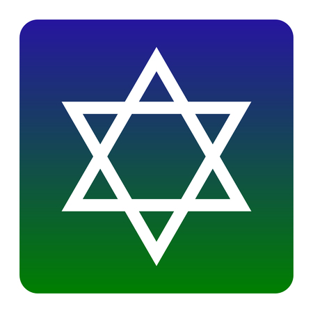 Shield Magen David Star. Symbol of Israel. Vector. White icon at green-blue gradient square with rounded corners on white background. Isolated.