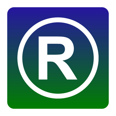 Registered Trademark sign. Vector. White icon at green-blue gradient square with rounded corners on white background. Isolated.