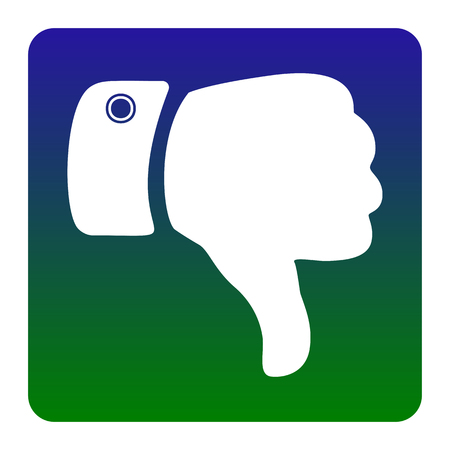 disapprove: Hand sign illustration. Vector. White icon at green-blue gradient square with rounded corners on white background. Isolated.