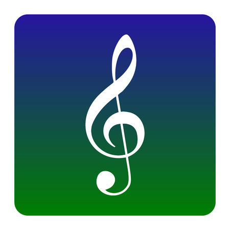 Music violin clef sign. G-clef. Treble clef. Vector. White icon at green-blue gradient square with rounded corners on white background. Isolated.