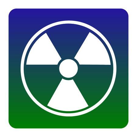 Radiation Round sign. Vector. White icon at green-blue gradient square with rounded corners on white background. Isolated. Illustration