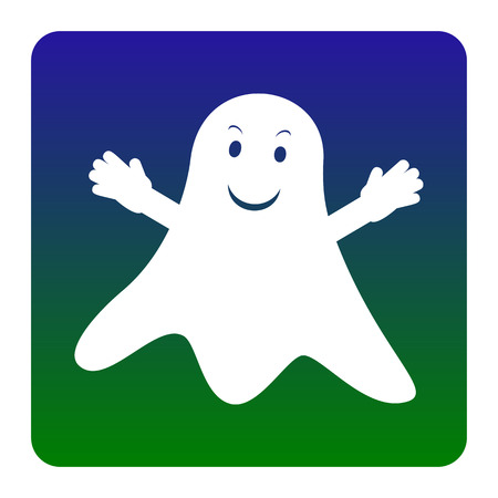 Ghost isolated sign. Vector. White icon at green-blue gradient square with rounded corners on white background. Isolated.