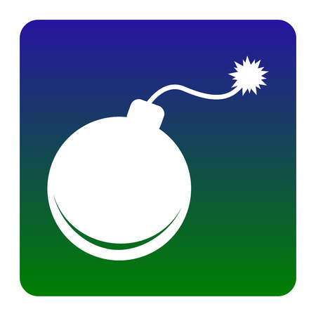 Bomb sign illustration. Vector. White icon at green-blue gradient square with rounded corners on white background. Isolated.