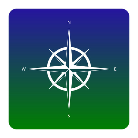 Wind rose sign. Vector. White icon at green-blue gradient square with rounded corners on white background. Isolated.