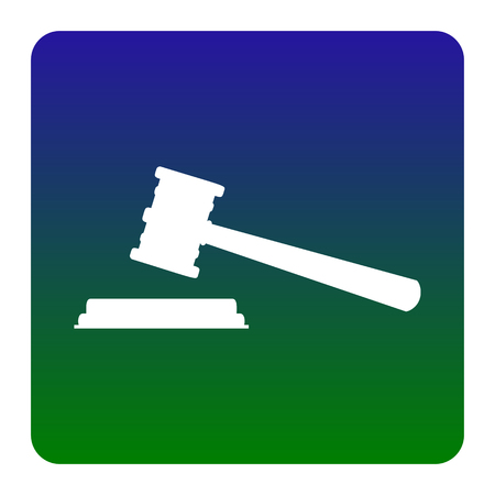 Justice hammer sign. Vector. White icon at green-blue gradient square with rounded corners on white background. Isolated. Illustration