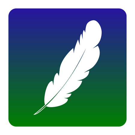 poet: Feather sign illustration. Vector. White icon at green-blue gradient square with rounded corners on white background. Isolated.