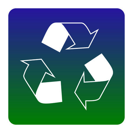Recycle sign concept. Vector. White icon at green-blue gradient square with rounded corners on white background. Isolated. Illustration