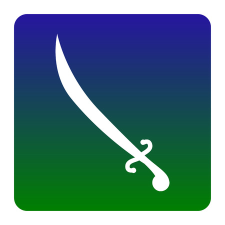 longsword: Sword sign illustration. Vector. White icon at green-blue gradient square with rounded corners on white background. Isolated.