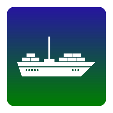 inflate boat: Ship sign illustration. Vector. White icon at green-blue gradient square with rounded corners on white background. Isolated.