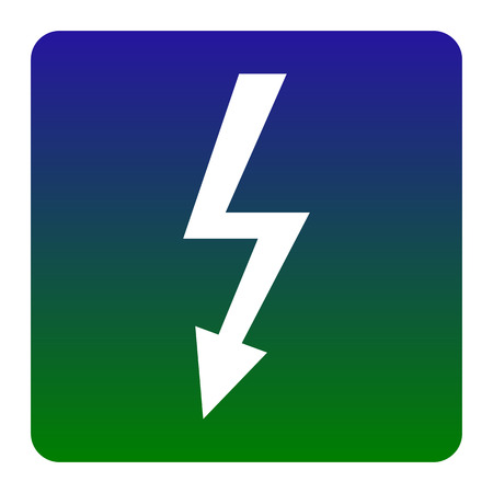 volte: High voltage danger sign. Vector. White icon at green-blue gradient square with rounded corners on white background. Isolated.