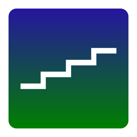 Stair up sign. Vector. White icon at green-blue gradient square with rounded corners on white background. Isolated.
