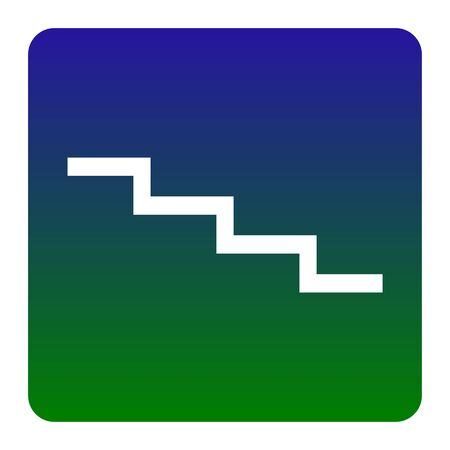 Stair down sign. Vector. White icon at green-blue gradient square with rounded corners on white background. Isolated. Illustration