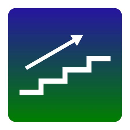 Stair with arrow. Vector. White icon at green-blue gradient square with rounded corners on white background. Isolated. Illustration