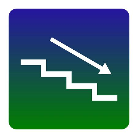 Stair down with arrow. Vector. White icon at green-blue gradient square with rounded corners on white background. Isolated.
