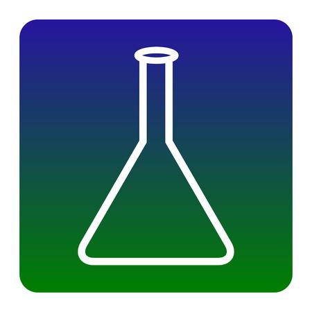 signo matraz cónico. Vector. El icono blanco en la plaza de gradiente de color verde-azul con esquinas redondeadas en el fondo blanco. Aislado.