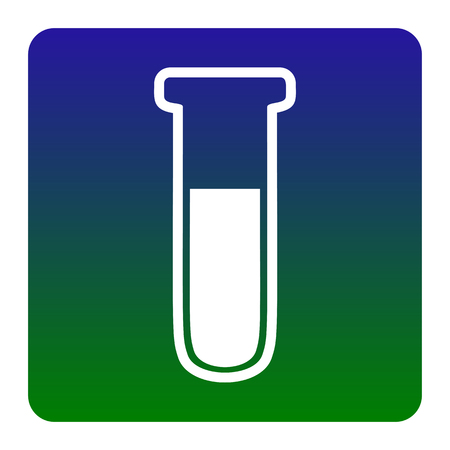 Medical Tube icon. Laboratory glass sign. Vector. White icon at green-blue gradient square with rounded corners on white background. Isolated.