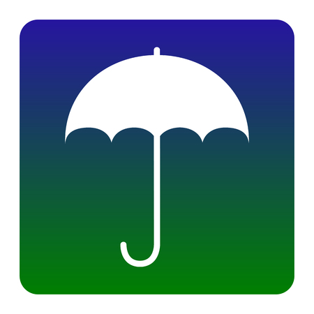 Umbrella sign icon. Rain protection symbol. Flat design style. Vector. White icon at green-blue gradient square with rounded corners on white background. Isolated.