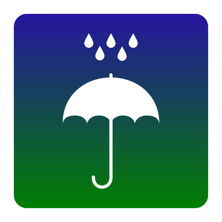Umbrella with water drops. Rain protection symbol. Flat design style. Vector. White icon at green-blue gradient square with rounded corners on white background. Isolated.