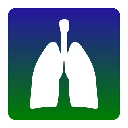 Human organs Lungs sign. Vector. White icon at green-blue gradient square with rounded corners on white background. Isolated. Illustration