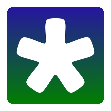 Asterisk star sign. Vector. White icon at green-blue gradient square with rounded corners on white background. Isolated.