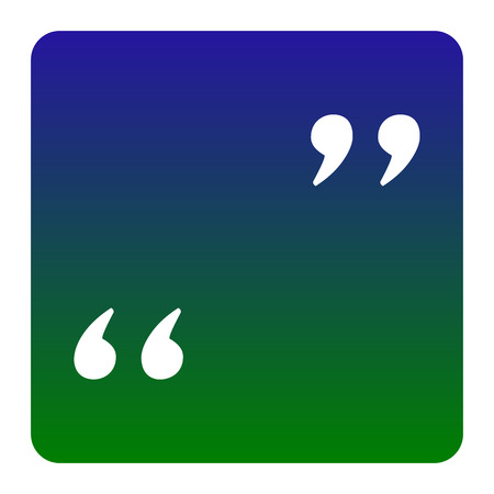 Quote sign illustration. Vector. White icon at green-blue gradient square with rounded corners on white background. Isolated.