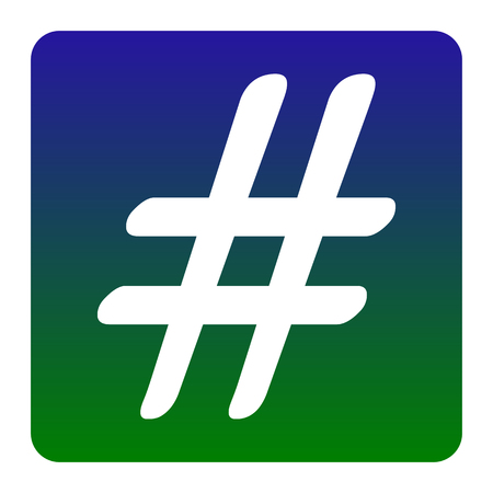 Hashtag sign illustration. Vector. White icon at green-blue gradient square with rounded corners on white background. Isolated.