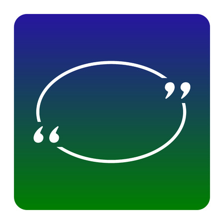Text quote sign. Vector. White icon at green-blue gradient square with rounded corners on white background. Isolated. Illustration