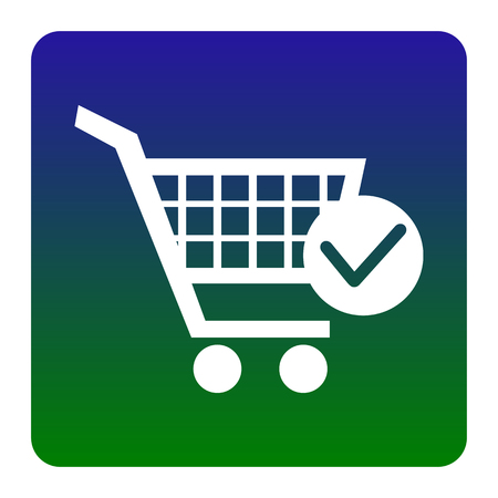 Shopping Cart with Check Mark sign. Vector. White icon at green-blue gradient square with rounded corners on white background. Isolated. Illustration
