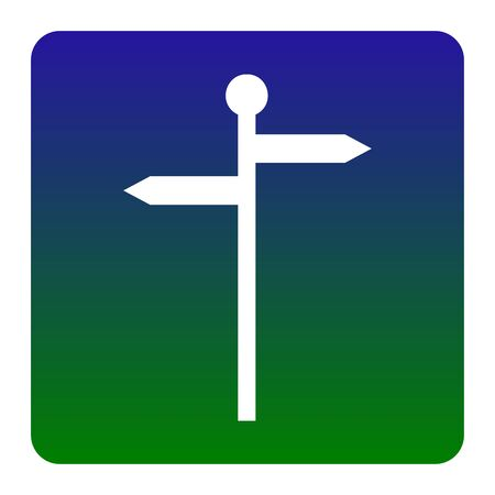 Direction road sign. Vector. White icon at green-blue gradient square with rounded corners on white background. Isolated.