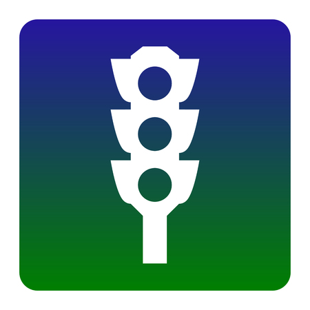 Traffic light sign. Vector. White icon at green-blue gradient square with rounded corners on white background. Isolated. Illustration