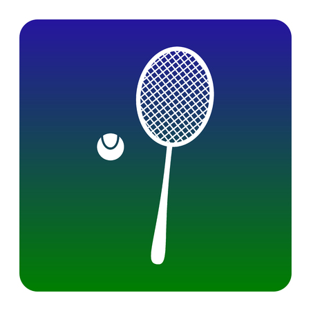 Tennis racquet sign. Vector. White icon at green-blue gradient square with rounded corners on white background. Isolated.