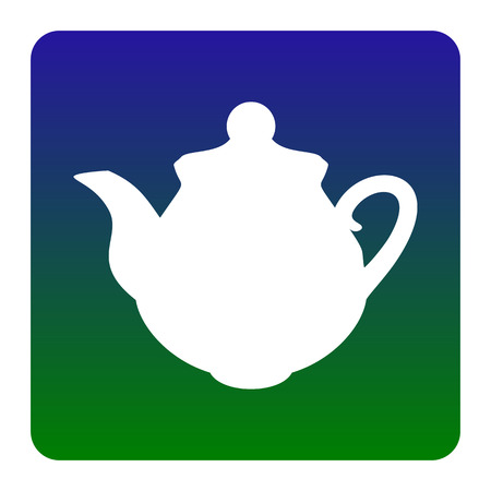 Tea maker Kitchen sign. Vector. White icon at green-blue gradient square with rounded corners on white background. Isolated. Illustration
