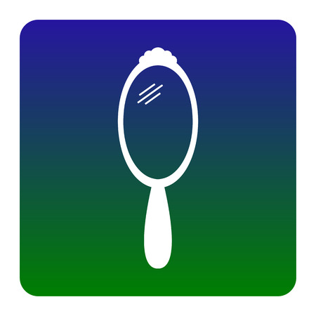 plated: Hand Mirror sign. Vector. White icon at green-blue gradient square with rounded corners on white background. Isolated.