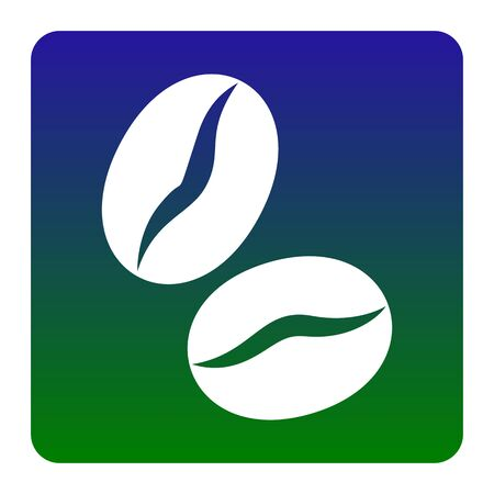 decaffeinated: Coffee beans sign. Vector. White icon at green-blue gradient square with rounded corners on white background. Isolated.