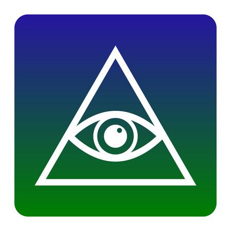 ojo de horus: Todos viendo el símbolo de la pirámide del ojo. Francmasón y espiritual. Vector. Icono blanco en el degradado verde-azul cuadrado con esquinas redondeadas sobre fondo blanco. Aislado.