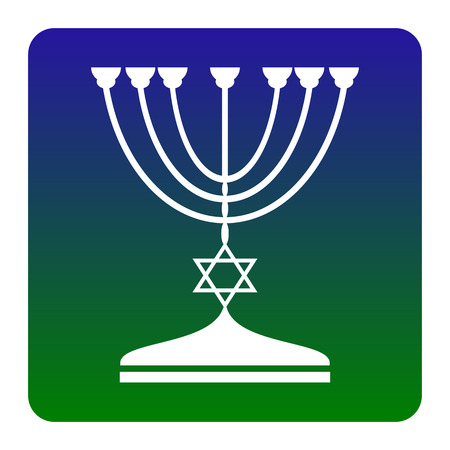 candelabrum: Jewish Menorah candlestick in black silhouette. Vector. White icon at green-blue gradient square with rounded corners on white background. Isolated.