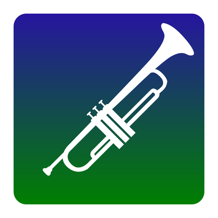 Musical instrument Trumpet sign. Vector. White icon at green-blue gradient square with rounded corners on white background. Isolated.